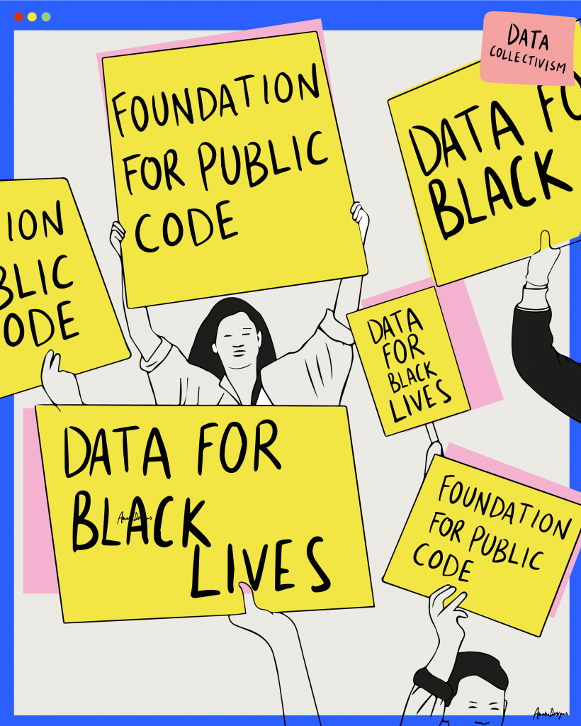 Illustration of people holding placards that say 'Foundation for Public Code' and 'Data for Black Lives'