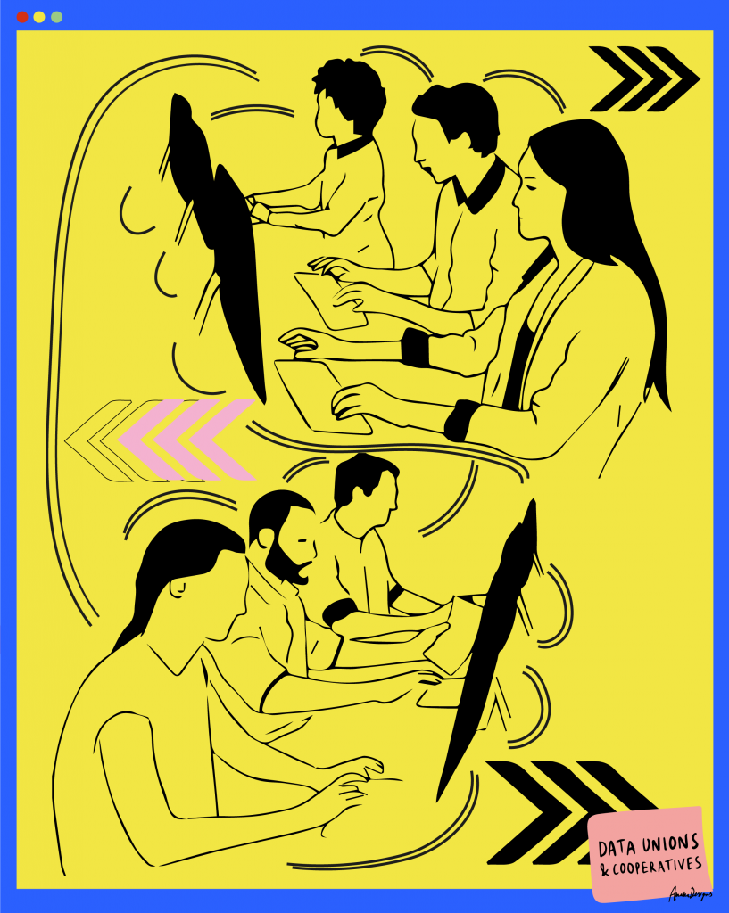 Illustration of six people working at laptops with connecting lines between them to show they are working together