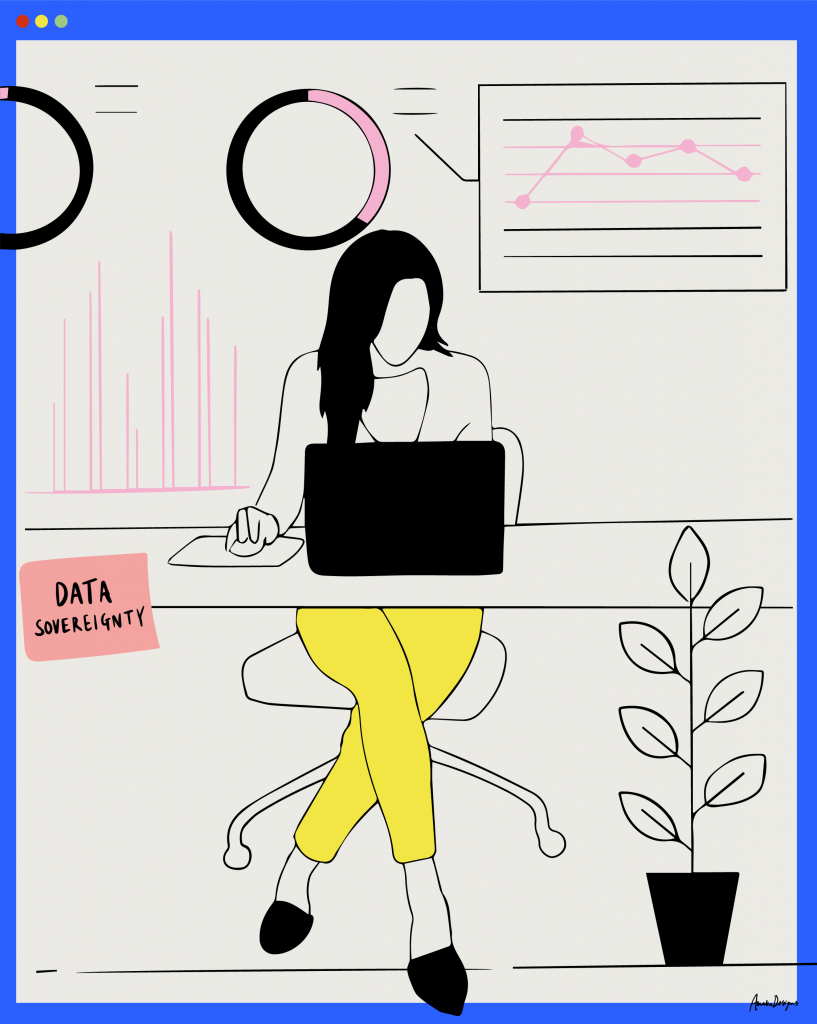 An illustration of a woman sitting at a desk using a laptop