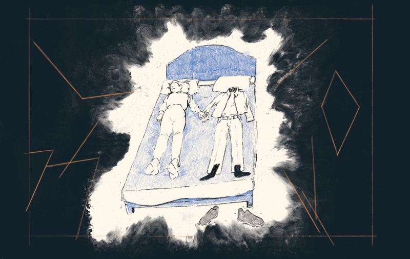Illustration of a person on a bed holding hands with a set of clothes lying next to them