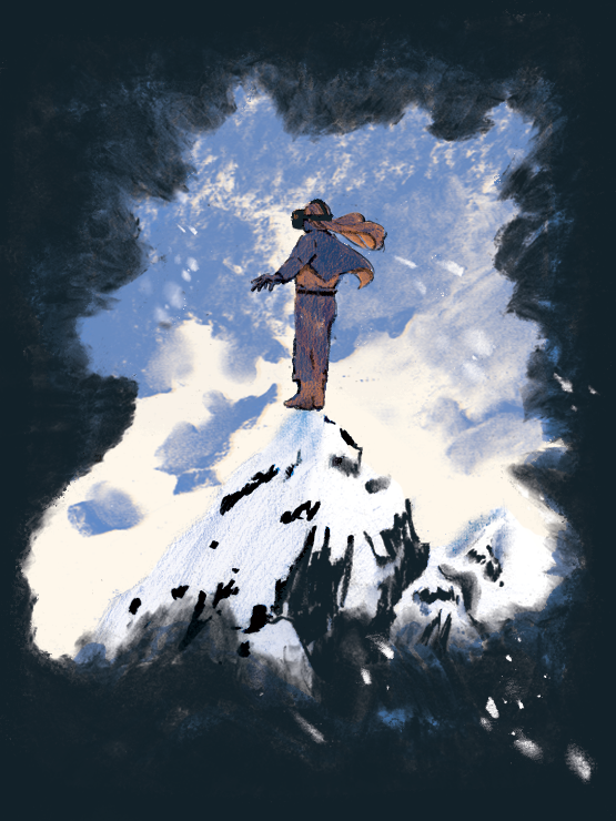 Illustration of person atop a snowy mountain wearing a VR headset