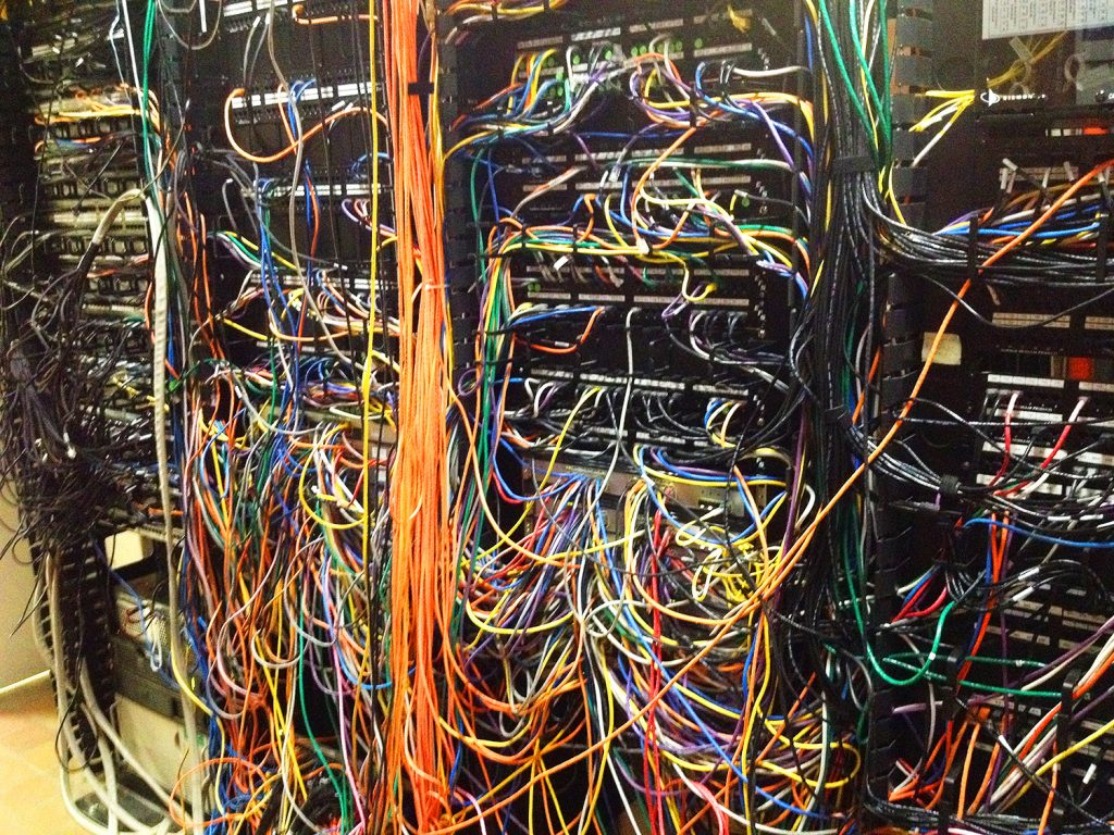 A mess of wires at the back of a server
