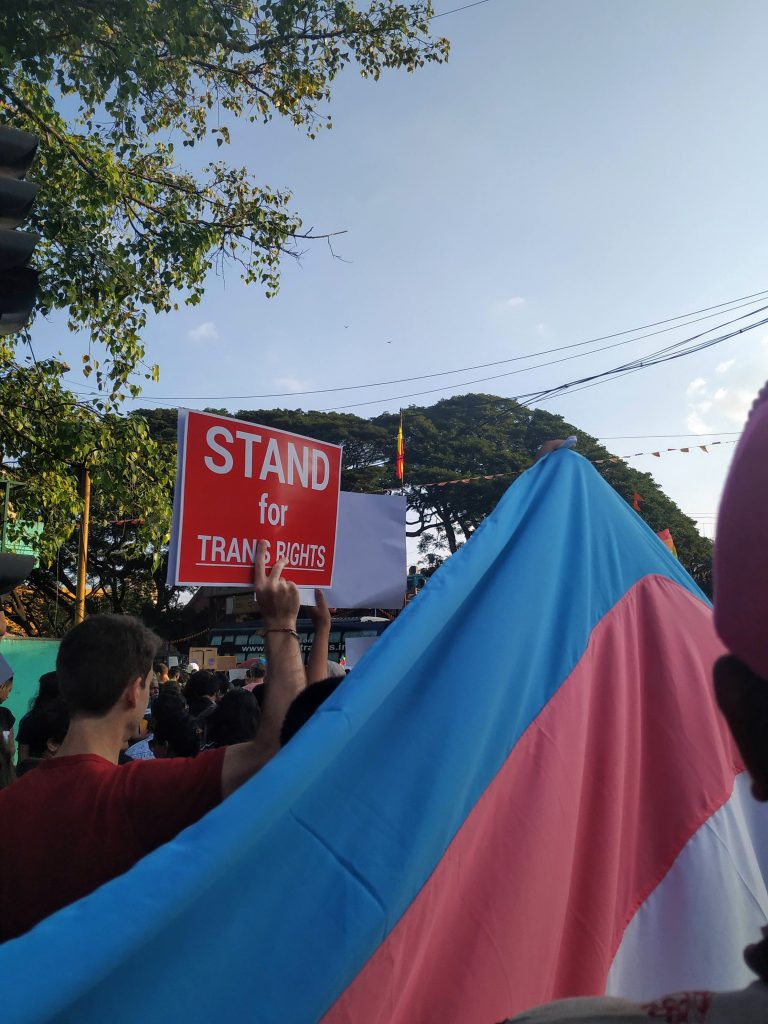 A protest for trans rights with a large blue, pink and white trans flag and a man holding a placard that says 'Stand for Trans Rights'