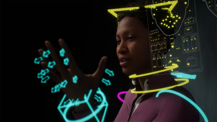 A black woman has computer generated arrows and lines around her in bright yellow and blue
