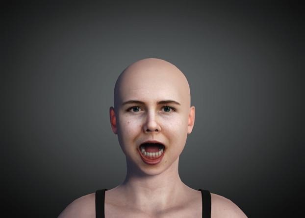 Digitally rendered image of white, bald young woman with mouth open