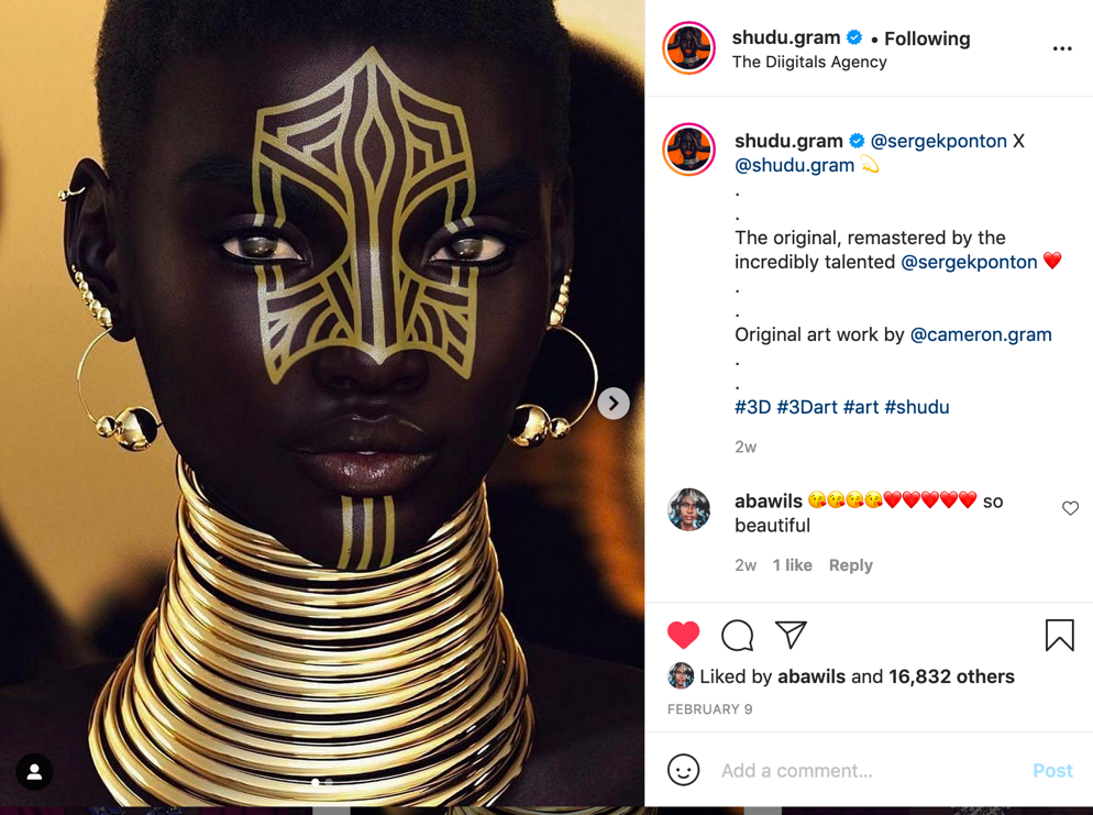 Instagram image of a beautiful black woman with gold tribal markings and jewellery