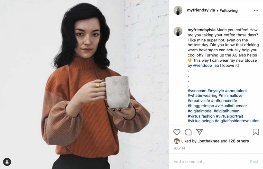 Instagram image of a young digitally rendered woman with dark brown hair and a stylish orange and brown jumper holding a cup of coffee