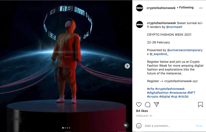 Instagram image of person wearing orange hooded jacket and trousers looking up with a space scene behind them