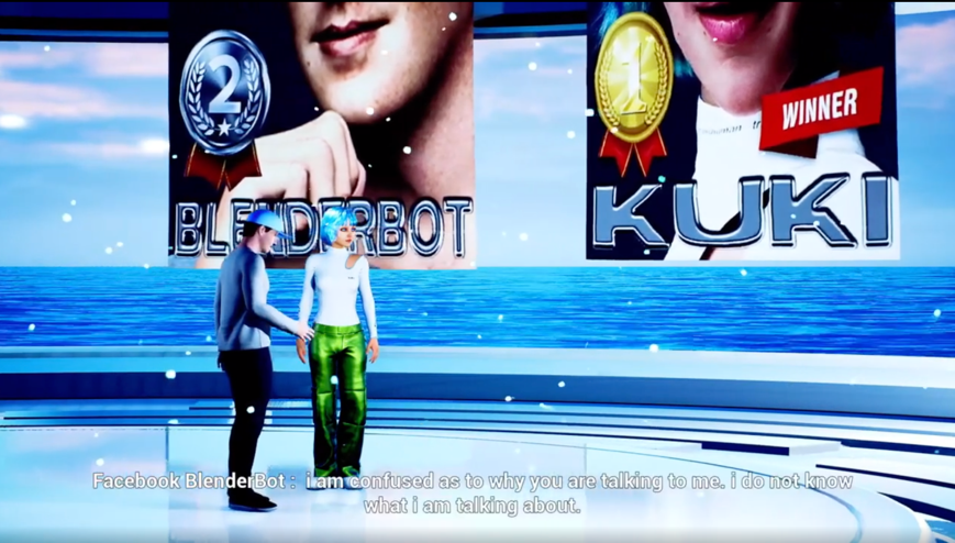 Two virtual humans standing on a platform