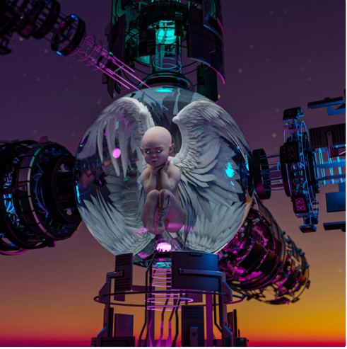 A bald angel with wings sits in a transparent orb as part of a space station