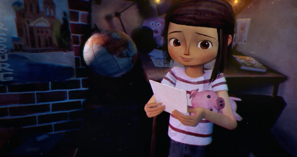 Young digitally rendered girl with brown eyes and brown hair clutches a piglet doll and is standing in front of a desk in her bedroom