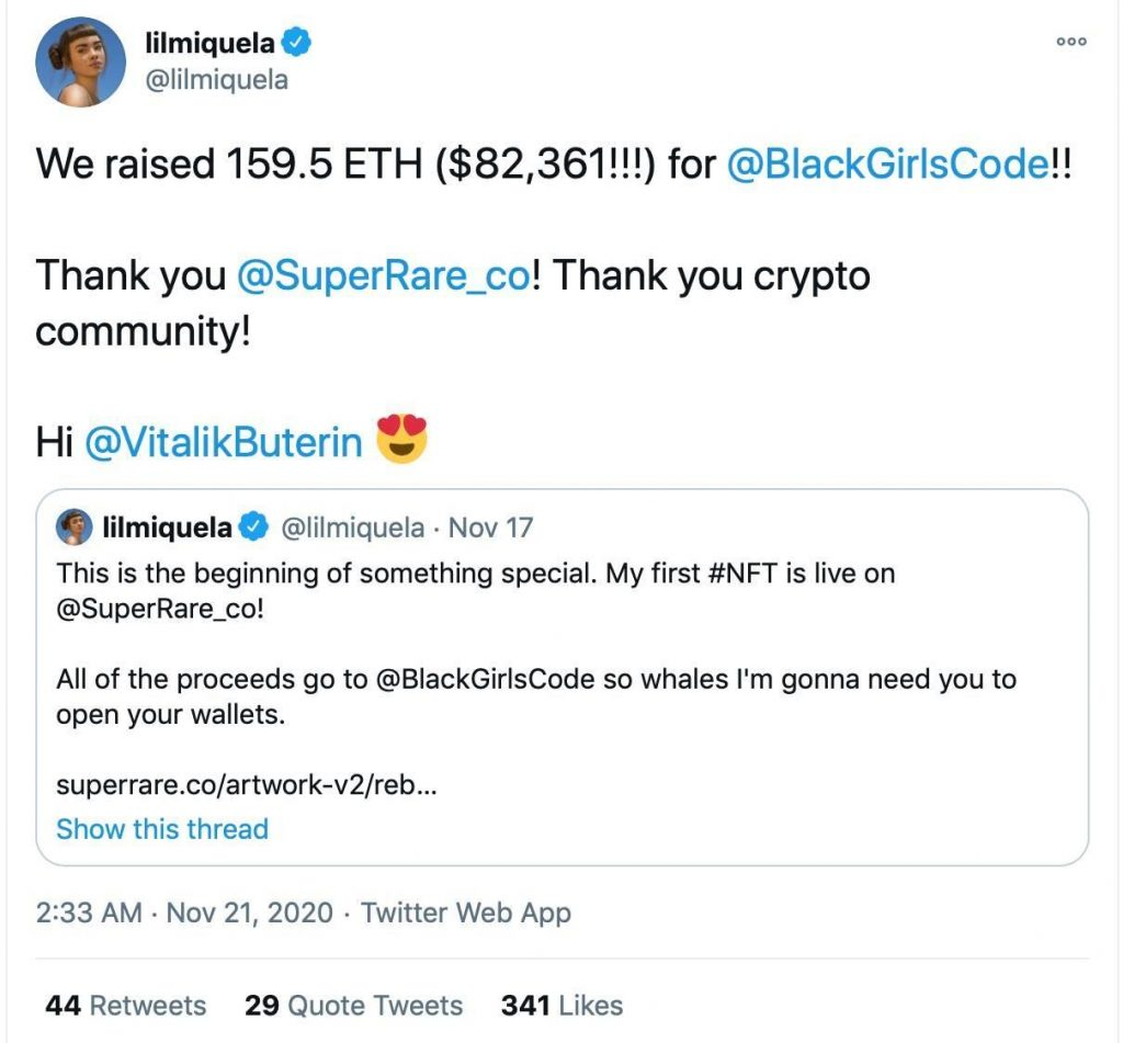 Twitter post from Lil Miquela that says 'We raised 159.5 ETH ($82,361!!!) for @BlackGirlsCode!!'