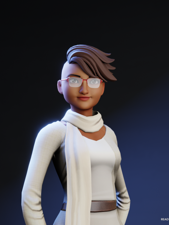 This is an avatar of Michelle to protect their identity. Michele's avatar is presenting a black woman wearing a white dress and white scarf, with red glasses and short hair flicked to one side