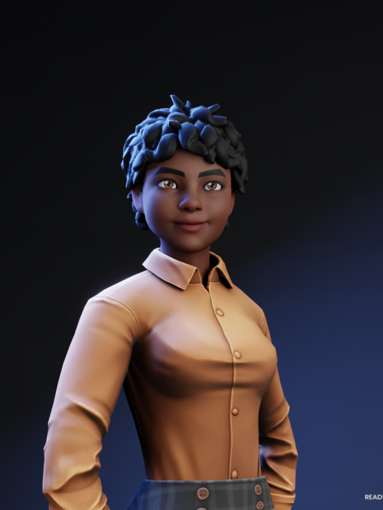 This is an avatar of Loraine to protect their identity. Loraine's avatar is presenting a Black woman with short black hair, smiling at the camera and wearing a brown shirt.
