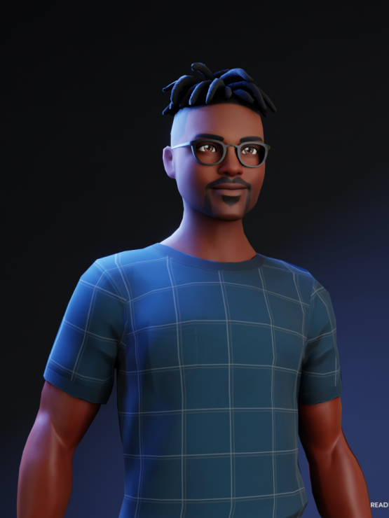 This is an avatar of Runako to protect their identity. Runako's avatar is presenting a black man wearing a blue checkered top, with black glasses and short black hair which is shaved at the sides