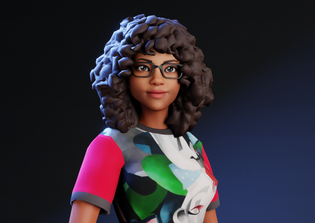 This is an avatar of Furaha to protect their identity. Furaha's avatar is presenting a black women wearing a patterned colourful top with pink sleeves, with black glasses and long curly black hair