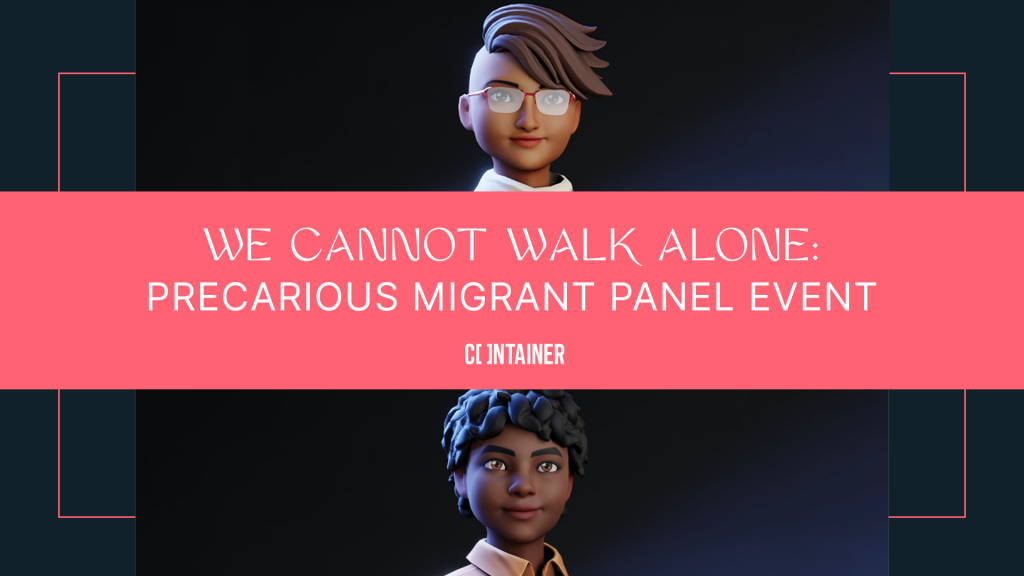 Lead Image for We Cannot Walk Alone showing the title of the event and two of the Co-Producers Avatars. At the bottom of the image, Loraine's avatar is presenting a Black woman with curly black hair, smiling at the camera and wearing a brown shirt. At the top of the image Michele's avatar is presenting a black woman wearing a white dress and white scarf, with red glasses and short hair flicked to one side
