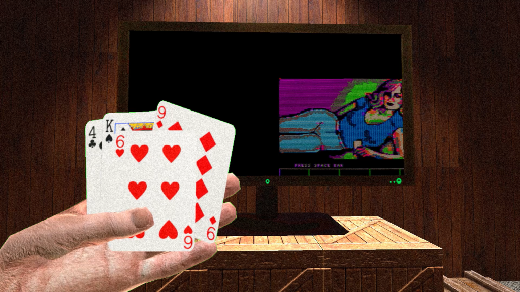 A virtual reality render that shows a hand in the foreground holding playing cards. Behind is a desk and computer. The screen shows a loading screen for a computer game
