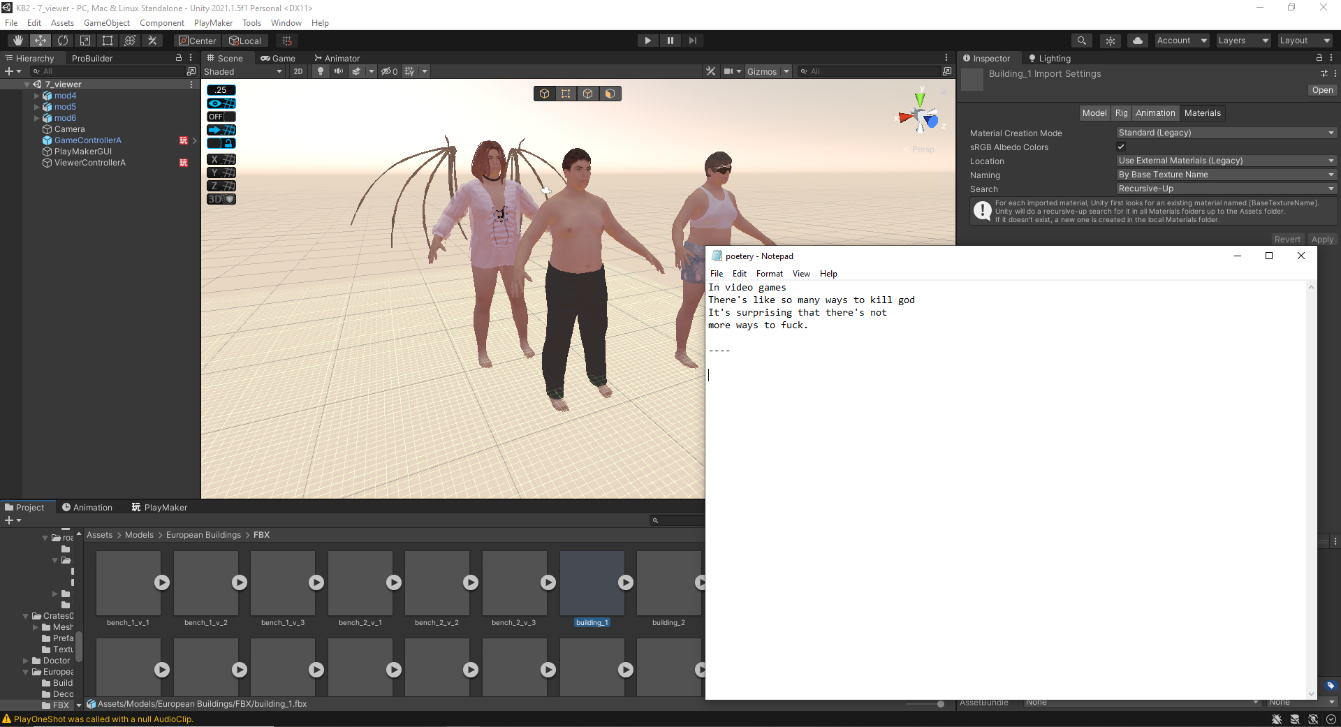 A screenshot of three computer-generated humans and a note in the foreground showing a short poem
