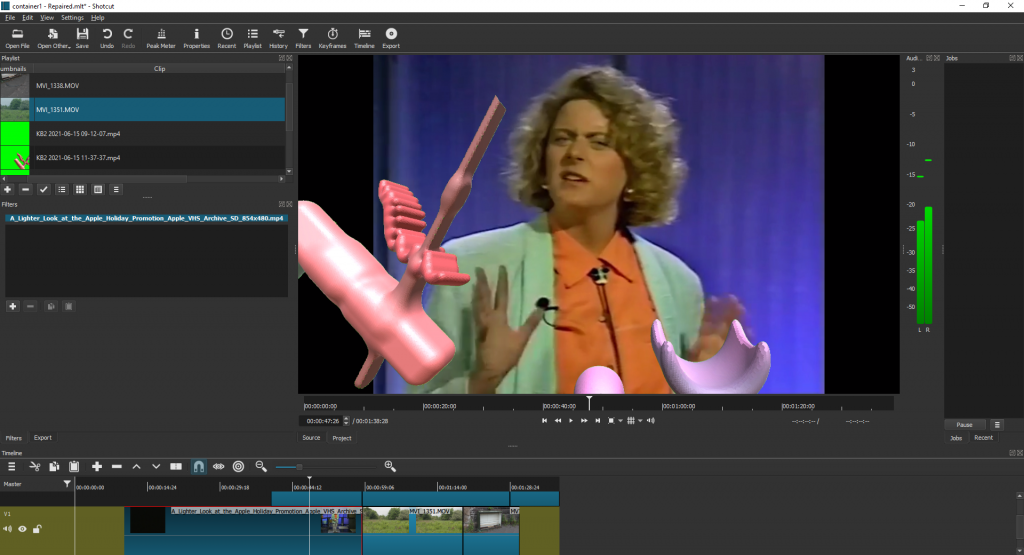 A video editing screen, with an image of a woman wearing an orange shirt in the top right corner, layered over with abstract shapes