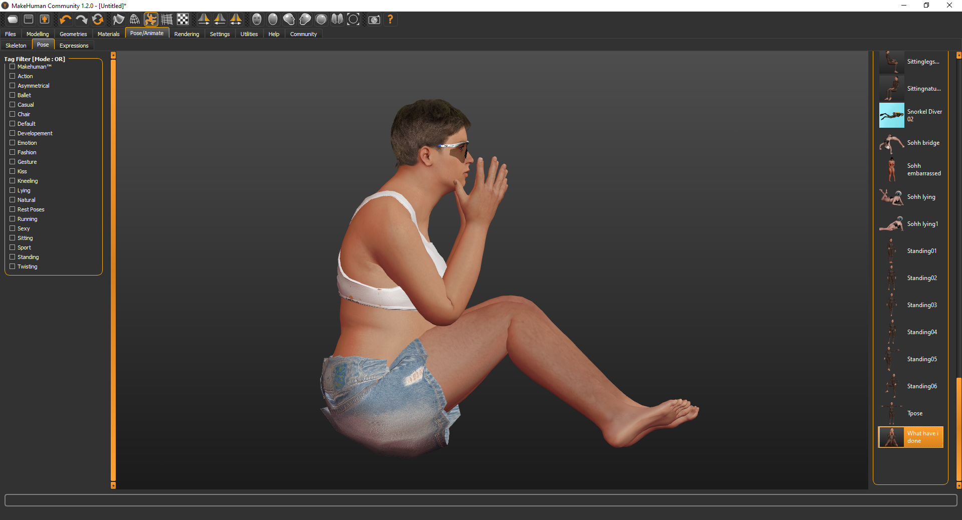 A computer-generated image of a human figure sitting in profile with legs stretched out. They have short brown hair and are wearing a white top and denim shorts