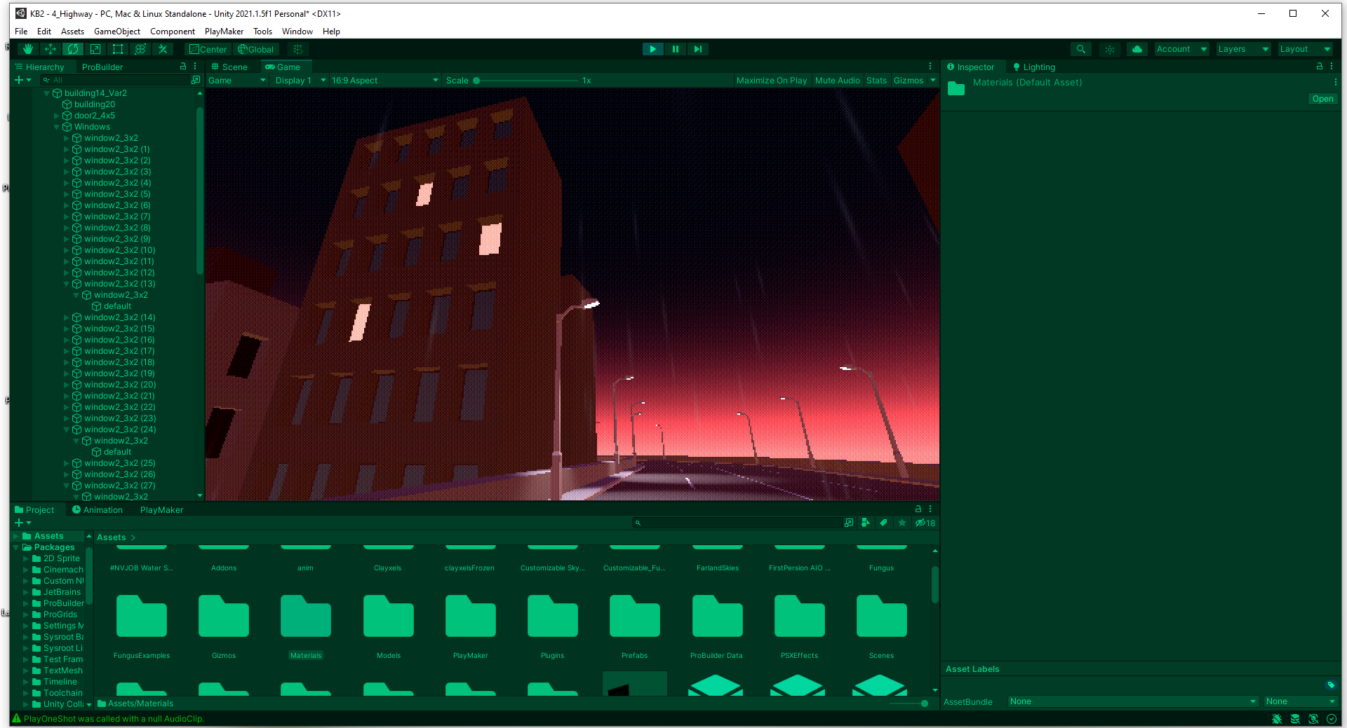 A screenshot showing a computer generated image of a tall building at sunset, with dozens of green folders of files below