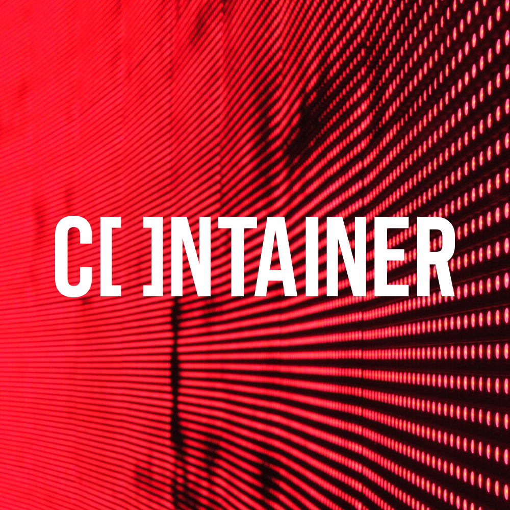 Container Logo on a background of red LED pixels